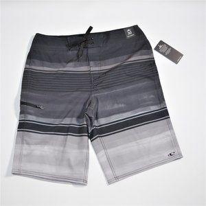 NWT Oneill board stripe gray black swim trunk 30
